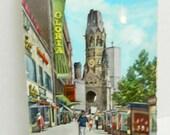 Vintage Color Postcard of Berlin Eiermann Church Gloria 1962 Written on with stamp