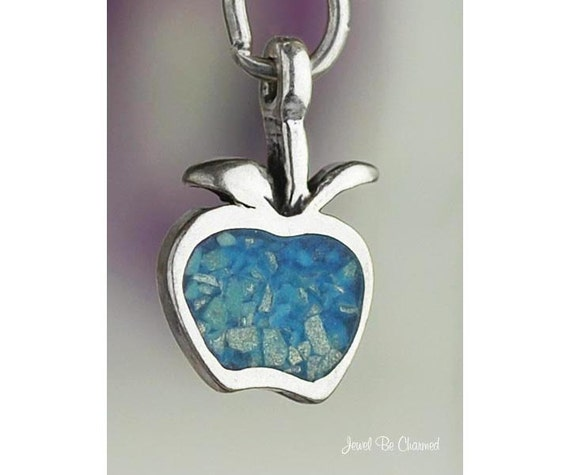 Turquoise Apple Charm Sterling Silver Apples Fruit Small Solid .925