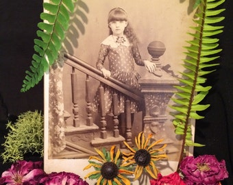 Antique Cabinet Photo  - Elsie Britton - Springfield Ohio - Girl with Curly Long Hair - Staircase