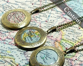 SALE CUSTOM Map Locket. You Select Location. Anywhere In The World.One Locket. Map Necklace. Map Jewelry. Personalize.