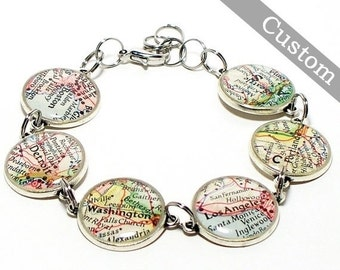 SALE Custom Map Bracelet. Antique Silver. You Select Six Locations. Anywhere In The World. Travel. Map Jewelry.