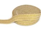 "Gold Fold Over Elastic - Elastic Ribbon - Elastic by the Yard - 5 Yards of Elastic Ribbon - Headband Elastic - FOE - 5/8"" Elastic for DIY"