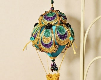 Peacock Inspired Hot Air Balloon with crocheted basket