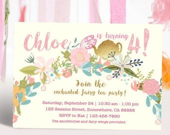 Pink and Gold Enchanted Tea Party Printable Invitation DIY
