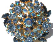 Blue Rhinestone Brooch with Aurora Borealis Flowers Dark and Light Blue On Gold Tone Signed Made Austria - Vintage Jewelry