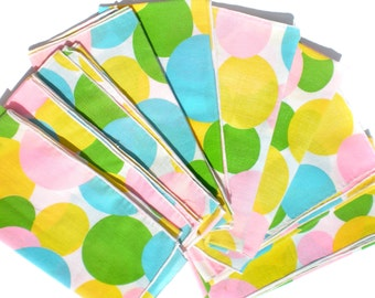 """Set of 9 Vintage Polka Dot Napkins in Pink Blue Green and Yellow Colorful Linen 17"""" Square Dinner Napkins Birthday Party"""