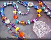 Hindu Goddess Durga Necklace, Protective Spiritual Amulet Necklace, Goddess Pendant, Long Double Strand Genuine Gemstone Necklace