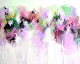 Abstract Art Giclee Print on Paper, Pink, Purple, Green and White Abstract Art Print, Fine Art Print, Modern Abstract Painting, Colourful