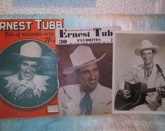 Vintage Ernest Tubb Folio of Hits #3 Deluxe Radio Songbook #4 & BW Photo