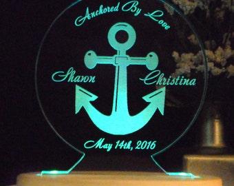 Anchor - Nautical  Wedding Cake Topper -  Acrylic -Personalized - Light EXTRA