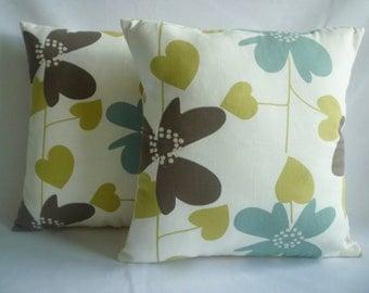 "PAIR Cushion Pillow Covers Green Robins Blue Designer Decorative Pillowcase Sham Slips Accent Throw Pillow. TWO 16"" (40cm)"