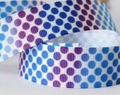 CLEARANCE SALE*FREE Shipping ~ 3 yards x Grosgrain Ribbon 22mm Blue Round Dots Ribbon, Ribbon Bow Ribbon-Sewing Notions-Scrapbooking
