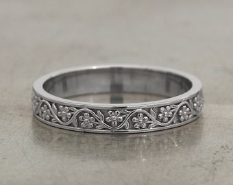 Vintage Style 3mm Floral Wedding Band in White Gold / White Gold Wedding Ring / Floral Wedding Ring
