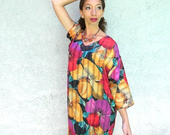 Vintage Lounge Dress, 80s Semi Sheer Caftan Dress w Psychedelic Floral and Stripe Print Fabric by Designer Mary McFadden, Made in USA M L XL
