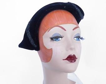 Vintage 1950s hat, black velvet asymmetrical tilt