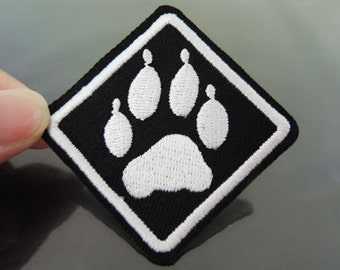 Paw Patches - Iron on Patches Paw Print Patch Square Applique Embroidered Patch Sew On Patch