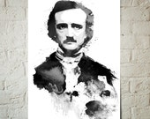 Edgar Allan Poe, The Raven, Nevermore, Gothic, Portrait, Art Print, Poster size, Gothic Art, Dorm Decor, Celebrity Portrait