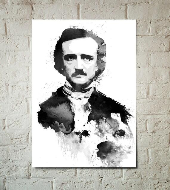 Edgar Allan Poe, The Raven, Nevermore, Gothic, Portrait, Art Print, Poster size, Gothic Art, Dorm Decor, Celebrity Portrait