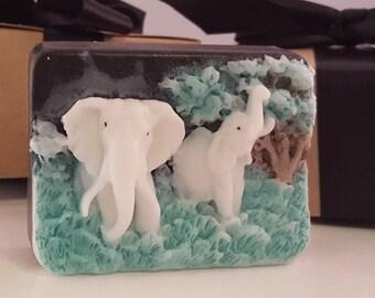 ELEPHANT SOAP BAR  - gift for teens, black soap white elephant, gift for mom, stocking stuffer for her, mothers day