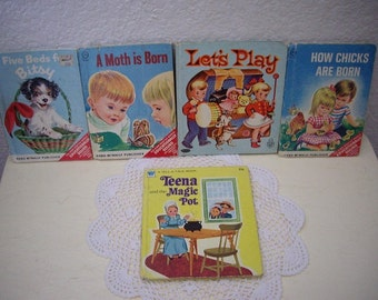 Five Vintage Storybooks, Five Beds For Bitsy, A Moth is Born, Let's Play, How Chicks are Born and Teena and the Magic Pot