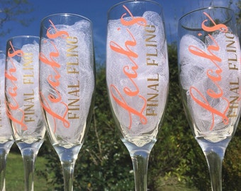 Bachelorette champagne glasses, personalized champagne flutes, final fling glasses, bridesmaids champagne glasses