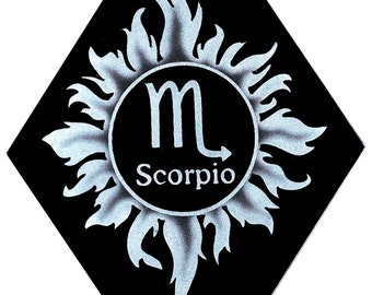 Carved Glass Zodiac Sign - Scorpio - Hanging Suncatcher