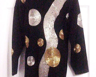 Judy Jetson Beaded Space Age Mod Sweater, One Size, Atomic Galaxy Girl!