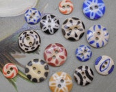 14 Antique China Stencil Buttons Mixed Lot #7
