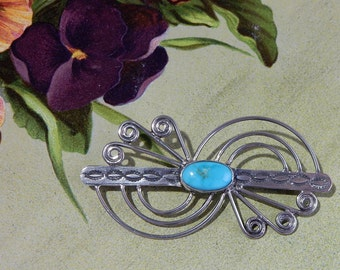 Stamped Native American Turquoise & Sterling Silver Brooch
