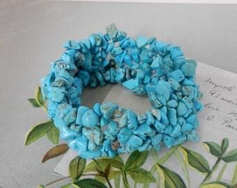 4 Strand Turquoise Nugget Stretch Bracelet