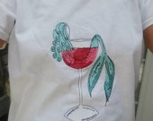 Mermaid Shirt - Embroidered Mermaid in Wine Glass or Mermaid in Margarita Glass - Beachwear - Ladies Wear - FREE SHIPPING in US