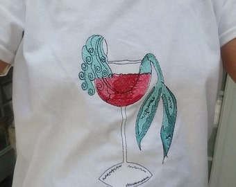 Mermaid Shirt - Embroidered Mermaid in Wine Glass or Mermaid in Margarita Glass - Beachwear - Ladies Wear