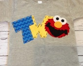 elmo birthday shirt, two, 2nd, girl boy t shirt,