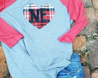 Ne heart,  women shirt, raglan shirt