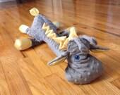 Grey minky satin giraffe - stuffed animal