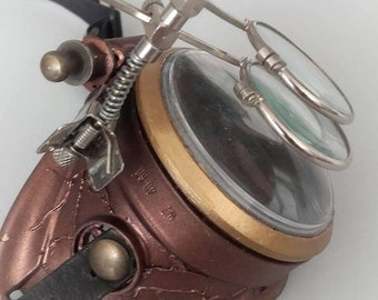 Steampunk monocle gears goggles gold antiqued (right eye)
