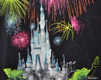 Vintage 80s Disney Tshirt/Mens Womens/Cinderellas Castle/Fireworks/Magic Kingdom/Black/Souvenir/Walt Disney World/Adults XL/Black Cotton/46