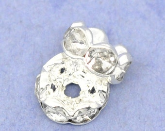 10 pcs Silver Plated Clear Rhinestone Rondelle Spacer Beads - 8mm - Curved Edges - Made of Copper!