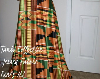 "PREORDER-Per yard 36""x 80"" inch wide Stretch Jersey Kente #2 African Fabric Kente Print in Orange, yellow, green and black color"