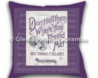 Throw Pillow, Vintage Sheet Music, Pillow Cover, Decorative Pillow, Accent Pillow, Don't Tell Them Where You Found Me, Purple Pillow
