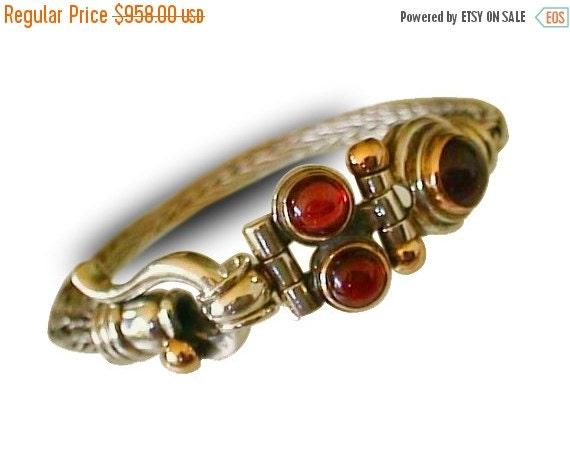 ON SALE BRAIDED Cuff Silver bracelet, Silver Design with 9k Gold, Garnet Gemstones, for man for woman, israeli design, handmade charm bracel