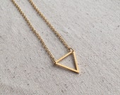 Brass triangle geometric charm necklace on 18k Gold Filled chain / choose your necklace size / FREE gift wrapping