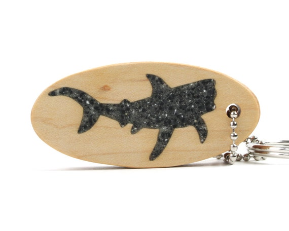 Tiger Shark Key Ring; Scroll Saw Wood Shark Keychain, Shark Key Fob, Sea Creatures Nautical Accessories Black Granite