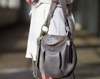Grey Leather Handbag- made to order bag- pleated leather bag- grey leather bag- littlewings designs- crossbody leather bag