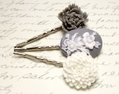 Blue Victorian Cameo Hair Accessories. White Mum Flower Hair Pins. Gray Floral Bobby Pins.