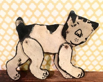 Vintage Primitive Hand Painted Wooden Cat