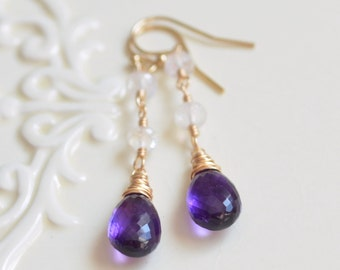 NEW Rainbow Moonstone and Amethyst Earrings, Real Gemstone, Dark Purple, February Birthstone, Gold Filled Jewelry, Free Shipping