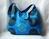 Blue Hobo Bag - Amy Butler Pressed Flowers Hobo Purse
