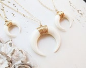 Double Horn Necklace, Downward Facing Crescent Necklace, Layering Necklace, Moon Necklace, Dainty Wire Wrapped White Horn Jewelry