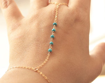 Turquoise Hand Chain, Delicate Finger Bracelet,  Dainty Gemstone Bracelet, Summer Jewelry, Dainty Body Jewelry, Gold Filled, Sterling Silver